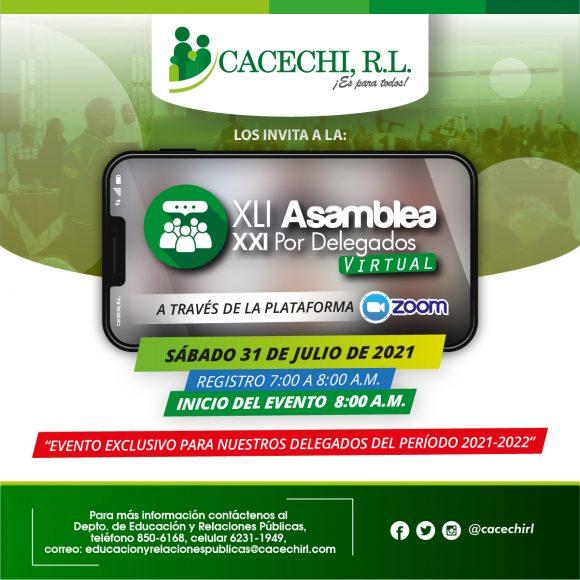Noticia | XLI Asamblea Ordinaria y XXI por Delegados (Modalidad Virtual)